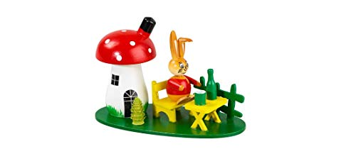 Kugelhase mit Pilzhaus aus Holz Osterdeko...