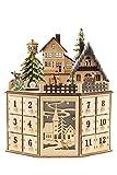 Clever Creations - Traditioneller Adventskalender aus Holz mit LED-Beleuchtung - festliches Weihnachtsdorf-Design mit 24 Schubladen - batteriebetrieben - 06 - Rund 1