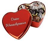 Pralinendose in Herzform mit individueller Gravur   Herzdose mit 6 Pralinen in heller und dunkler Schokolade mit Nougat-Füllung (54g)