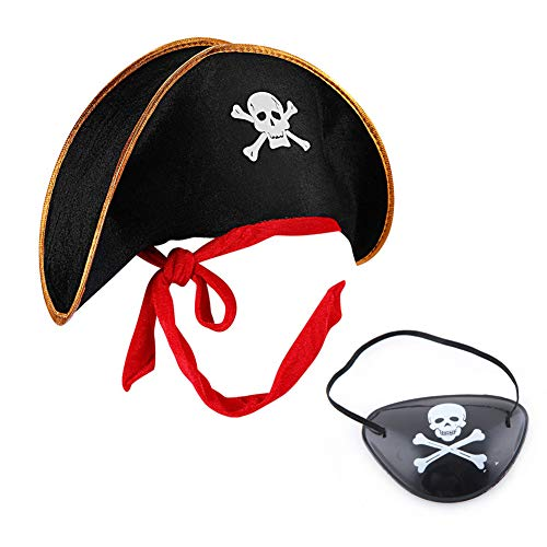 MAKFORT Piratenhut und Piraten Augenklappe...