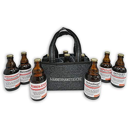 QUATSCHmanufaktur Männerhandtasche/gefüllt mit 6...