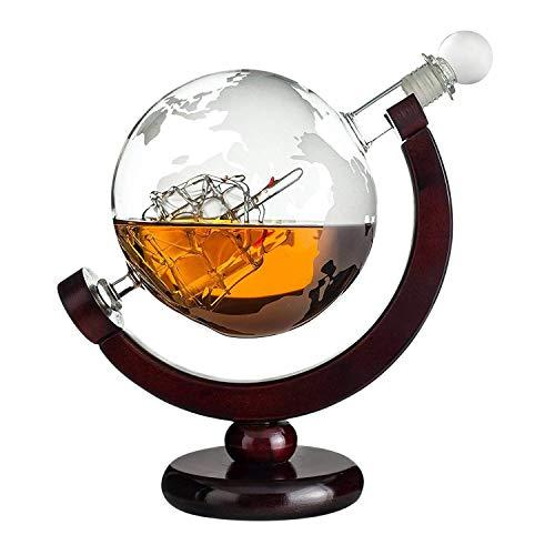 Whiskykaraffe Globus: gravierte Glas Karaffe mit...