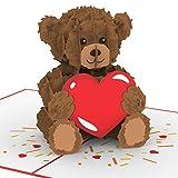"""PaperCrush® Pop-Up Karte Liebe """"Teddy mit Herz"""" - 3D Weihnachtskarte oder Geburtstagskarte für Sie (Frau oder Freundin), Süße Liebeskarte mit Teddybär zu Weihnachten, Geburtstag oder Hochzeitstag"""