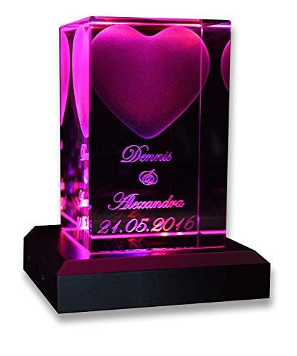 VIP-LASER 3D Glas Kristall Quader Herz mit Zwei...