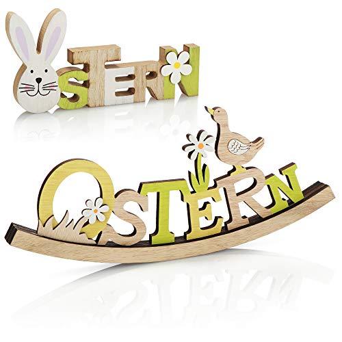com-four® 2X Deko Aufsteller für Ostern -...