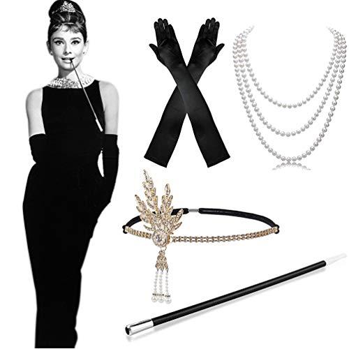 MMTX 1920s Kostüm Damen Flapper Accessoires Set...