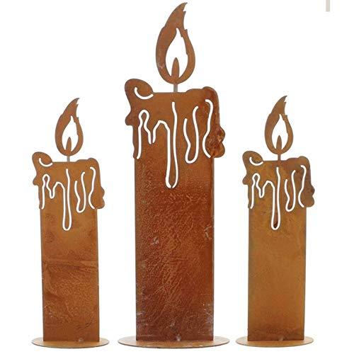 SIDCO Kerze Edelrost 3 x Rostoptik Kerzen rustikal...