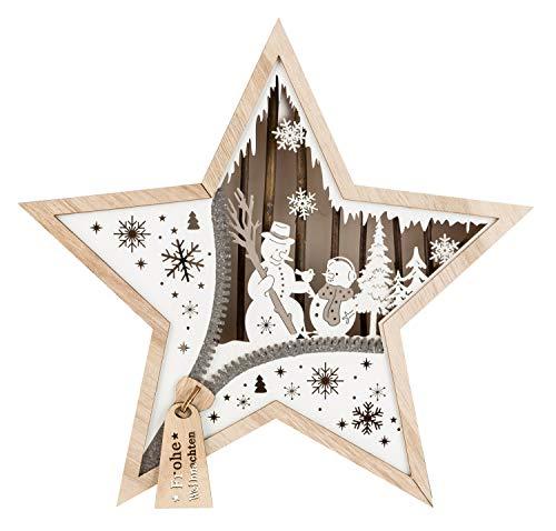 Unbekannt, III Stern aus Holz mit LED Beleuchtung,...