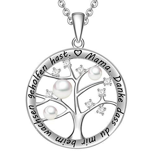 LOVORDS Damen Halskette Gravur 925 Sterling Silber...