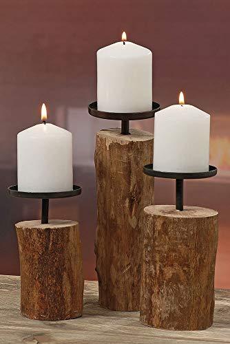 3er-Set Kerzenleuchter Kerzenständer 'Tempe' Holz...