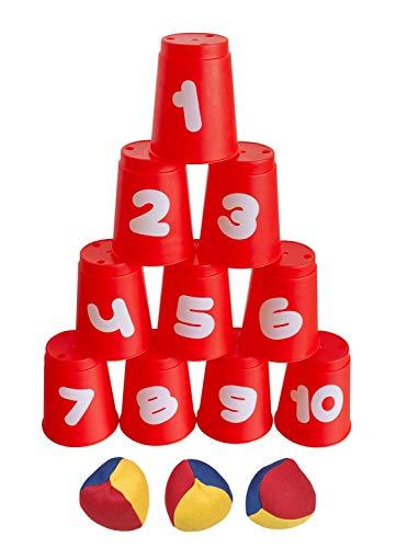 Idena 40416 - Ballwurfspiel mit 10 Bechern und 3...