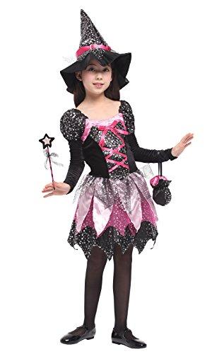 DEMU Hexenkostüm für Kinder Mädchen Halloween...
