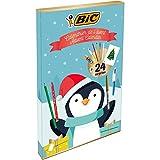 BIC 961512 Adventskalender (mit 24 Überraschungen: 6 Magic Filzstifte, 6 Buntstifte, 4 Malkreiden, 1 Tube Klebstoff, 1 Bleistift, 1 Radiergummi, 3 Kugelschreiber, 24 Postkarten)