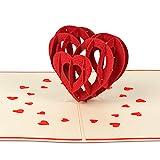 """PaperCrush® Pop-Up Karte Liebe """"3D Herz"""" - Besondere Geburtstagskarte oder Weihnachtskarte für Sie und Ihn, Romantische Liebeskarte zu Weihnachten, Geburtstag oder Hochzeitstag für Frau und Mann"""