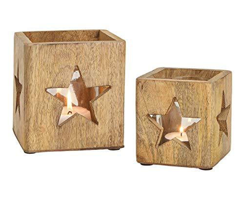 Windlichthalter 2er Set aus Mango Holz - mit...