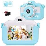 Kinder Kamera Hochauflösende Video Digitalkamera, Intelligenter 3 Zoll IPS Touchscreen / 1080P / USB / 32 GB TF Karte / Zoom Selfie Kamera mit Zwei Objektiven, Gaming Multifunktionskamera (Blau)