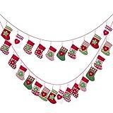 Kesote 24x Adventskalender zum Befüllen Aufängen Weihnachtskalender Kette Filz Säckchen Kinder Weihnachten Deko Strumpf (15 x 10 cm)