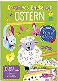 Kreatives Bastelset: Ostern: Set mit 33 bunten Papierbögen, Vorlagen zum Heraustrennen, Stickern und Falzhilfe