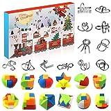 Amelia Knobelspiele Adventskalender 2020, 24 Logisches Spielzeug, Metallpuzzle Plastikpuzzle Set, adventskalender rätsel, Weihnachten Geschenk für Kinde