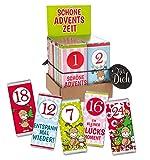 STEINBECK Adventskalender 24er Set Mini Schokolade Tafel Weihnachten 1-24 Wichtelgeschenk Nikolaus Mitbringsel Adventszeit