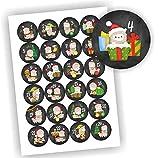 Play-Too 24 Aufkleber Adventskalender Lama Schwarz Zahlen Fest Weihnachten Aufkleber Sticker