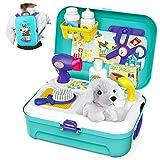 Tierarzt Spielset Hundesalon Haustier Einstellen im Koffer Kleiner Rucksack Rollenspiel Spielzeug mit 16-teilig für Kinder 2 3 4 5