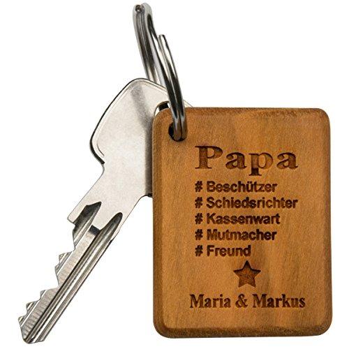 Schlüsselanhänger Bester Papa Holz eckig -...