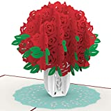 PaperCrush® Pop-Up Karte Rote Rosen - 3D Geburtstagskarte für Sie, Blumen Neujahrskarte mit Rosenstrauß, Geschenkkarte für Frauen, Freundin (Neujahr, Geburtstag, Hochzeitstag)