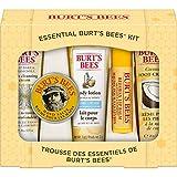 Burt's Bees Geschenkset, mit 5 Produkten in Reisegröße - Tiefwirksame Reinigungscreme, Handcreme, Bodylotion, Fußcreme und Lippenbalsam