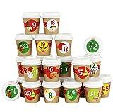 Papierdrachen DIY Adventskalender Espresso-Becher - zum selber Basteln und Befüllen - mit rotem Washi Tape - 24 Coffee to Go Cups - Design Set 1
