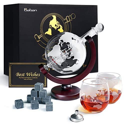 Whiskeyglas, kugelförmige Whisky-Karaffe Globus...