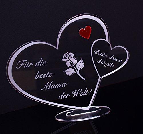 Acryl Schild in Herz Form 'Für die beste Mama der...
