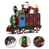 evergreemi Weihnachts-Adventskalender aus Holz, Weihnachtszug-förmiger Countdown-Kalender mit 24 Schubladen, zum Füllen von Süßigkeiten oder kleinen Geschenken Weihnachts-Tischdekoration 12 Zoll