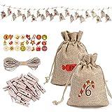 SOYYD 24pcs Weihnachten Kordelzug Jutesäcken Süßigkeit-Geschenk-Taschen Weihnachten mit Adventskalender Geschenk-Beutel für Weihnachten Hochzeit Geburtstag