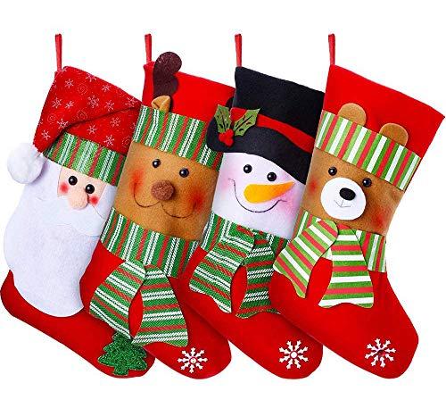 YQing Weihnachtsstrumpf 4er Set 15 Zoll Nikolaus...