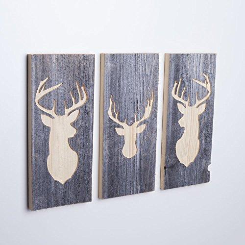 WOODS 3er-Set Wand-Bilder mit Hirsch-Motiv I...
