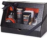 BRUBAKER Cosmetics Spa Sport Musk 8 tlg. Pflegeset für Männer mit Duschgel, Shampoo, Deo, Gesichtscreme, Peeling, Body Lotion, Seife + Waschlappen in Geschenkverpackung