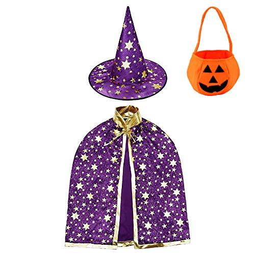 Jackcell Kinder Halloween Kostüm, Wizard Cape...
