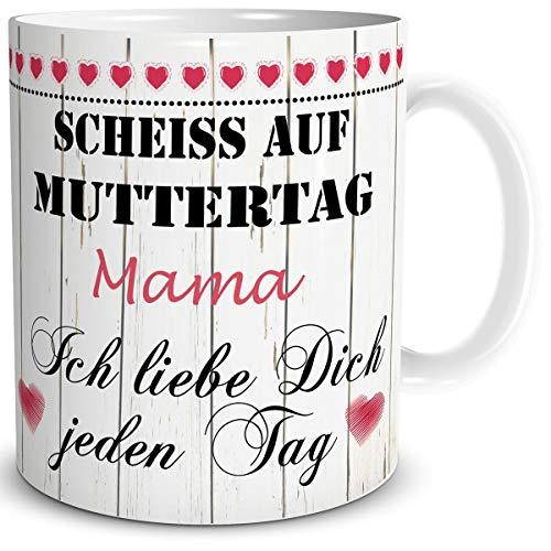 TRIOSK Tasse Mama mit Spruch lustig Scheiß auf...