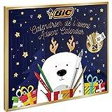 BIC 951771 Adventskalender (mit 24 Geschenken: 6 Magic Filzstifte, 6 Buntstifte, 4 Malkreiden, 1 Tube Klebstoff, 1 Bleistift, 1 Radiergummi, 3 Kugelschreiber, 24 Postkarten)