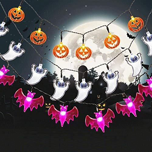 SALCAR 3 Stück LED Lichterkette Halloween und...