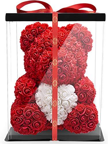 NADIR 40cm Blumenbär mit Herz - verpackt in...