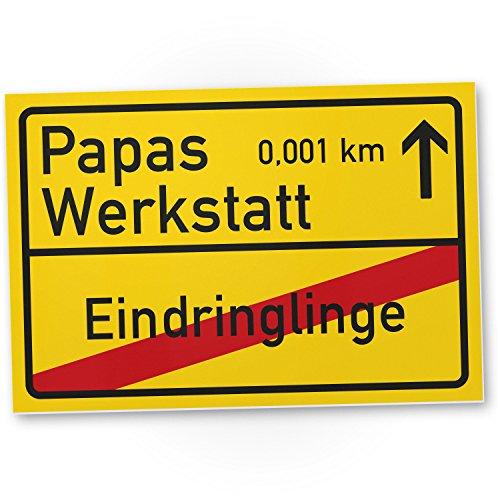 DankeDir! Papas Werkstatt Ortsschild 30 x 20 cm...