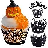 JYOHEY 24 Stück Cupcake Wrappers Halloween Cupcake Formen Papier Schwarz Für Kuchen Muffin Halloween Party Tisch Dekoration