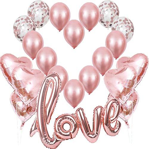 Rosegold Love Luftballons, XXL Love Folienballon...