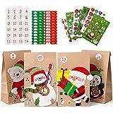 Naler Adventskalender zum Befüllen Papiertüten mit Aufkleber Geschenktüten für Kinder DIY Basteln