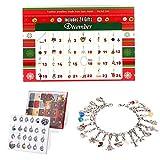 ANTOPY Weihnachten Adventskalender 2019 Schmuck DIY Armband Halskette Set Mode Weihnachten Countdown Adventskalender 24 Mädchen Tochter vorhanden