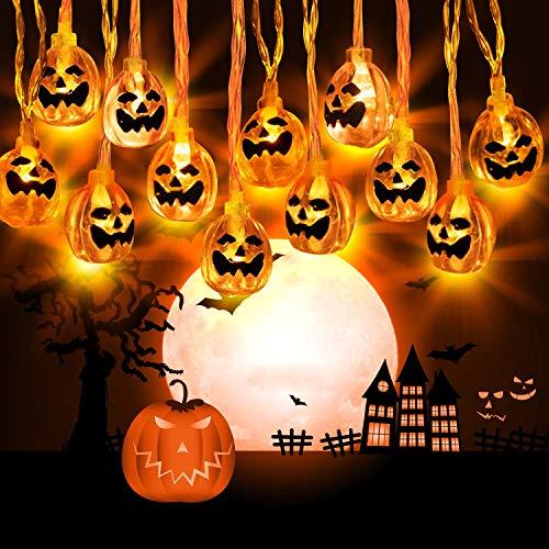 Zenoplige Halloween Kürbis Deko Licht, 3M 20 LED...