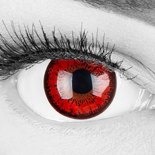 Farbige rote Crazy Fun Kontaktlinsen 'Red Flower'...