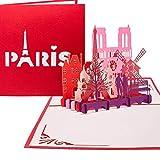 Pop Up Karte'Paris - Je t'aime' - 3D Klappkarte Paris & Eiffelturm als Valentinskarte, Reisegutschein & Geschenkverpackung - 3D Karte zum Städtetrip & Hochzeitsreise Paris